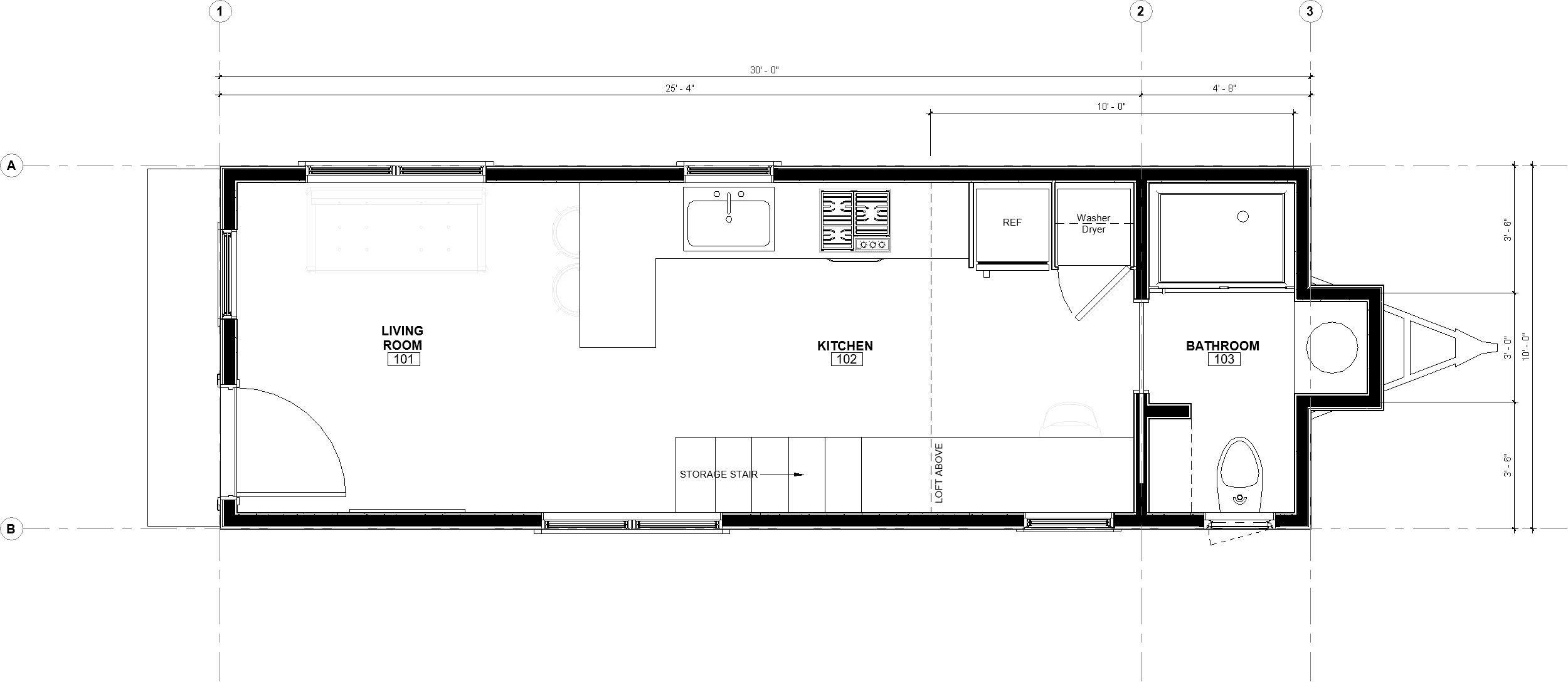 30ft Loft Toccoa floor plans with dimensions