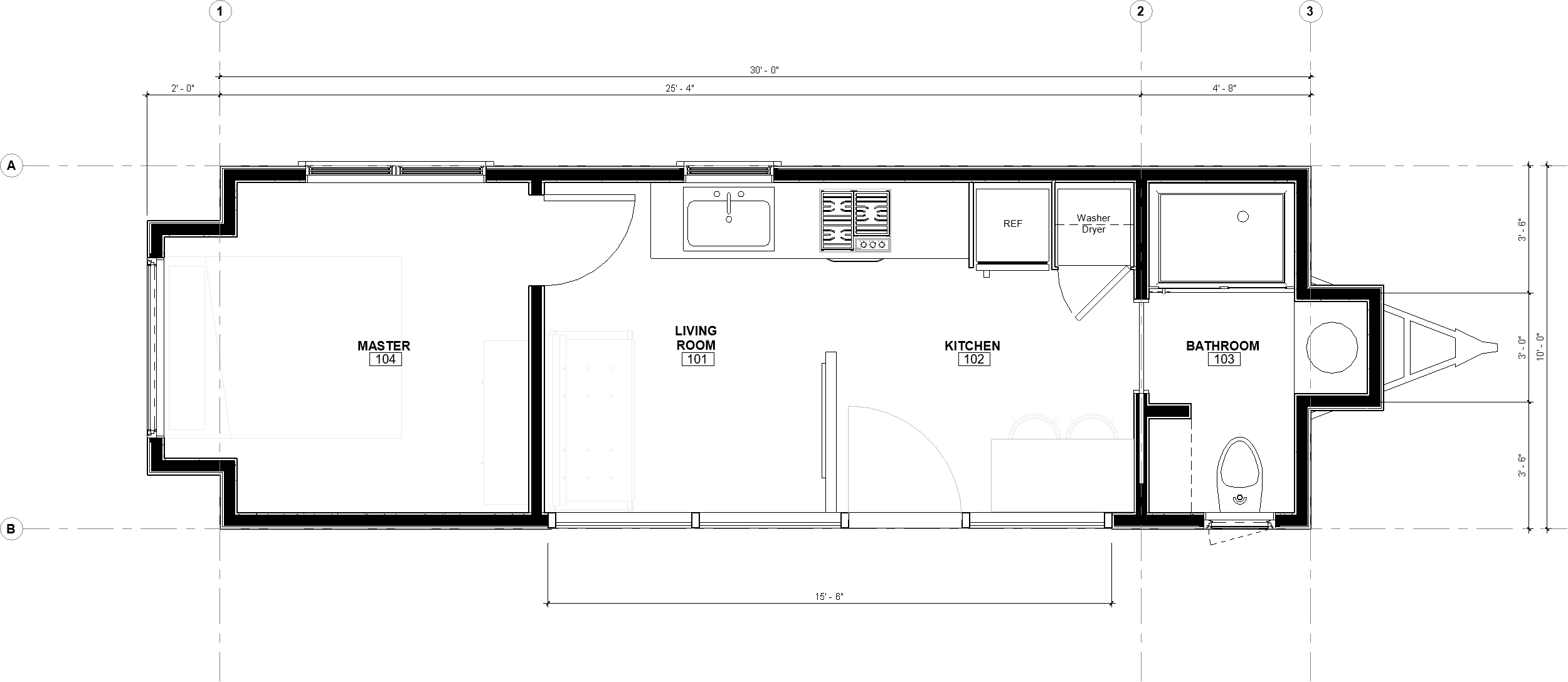 30ft Master on Main Etowah floorplan with dimensions