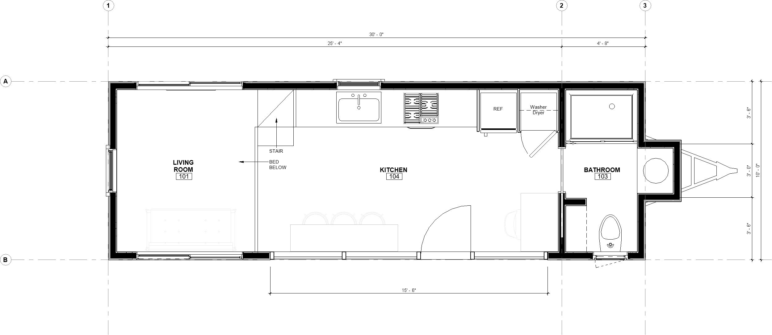 30ft Reverse Loft Pingora floor plan with dimensions